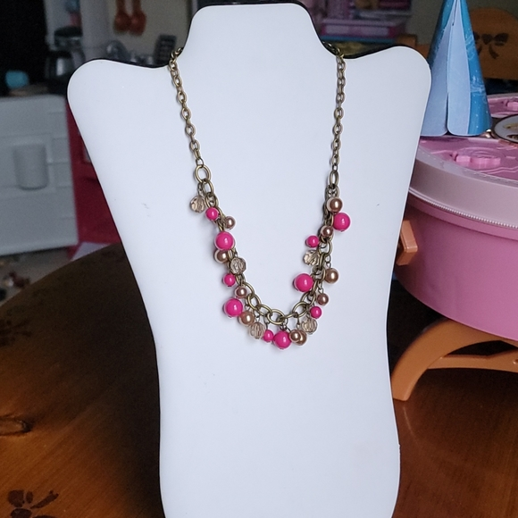 Brass chain link and beaded necklace